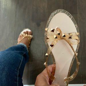 Shoes - Gold Sparkle Jelly Bow Flip Flops